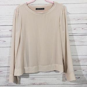 Zara Woman Blouse w/Sheer Long Sleeves Sz M